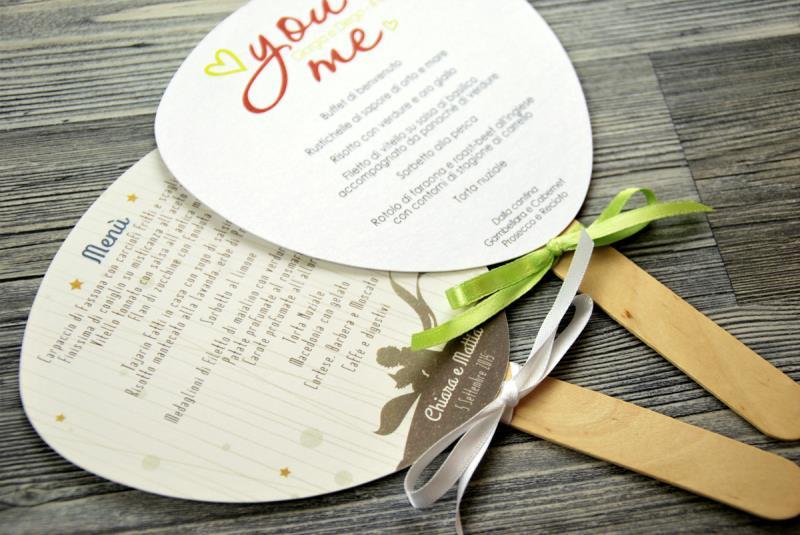 Top Menu Ventaglio, Menu a forma di ventaglio, ideale per matrimoni estivi NU13