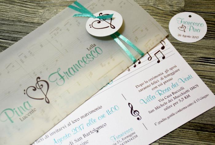 Partecipazioni Matrimonio Azzurro Tiffany : Partecipazione di matrimonio a tema musicale