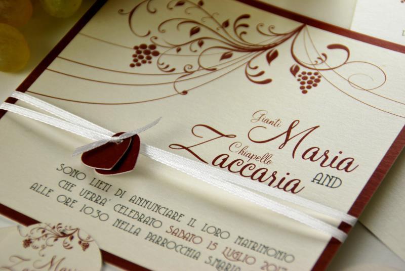 Estremamente Partecipazione tema vino, adatto ad un matrimonio in cantina  RE02