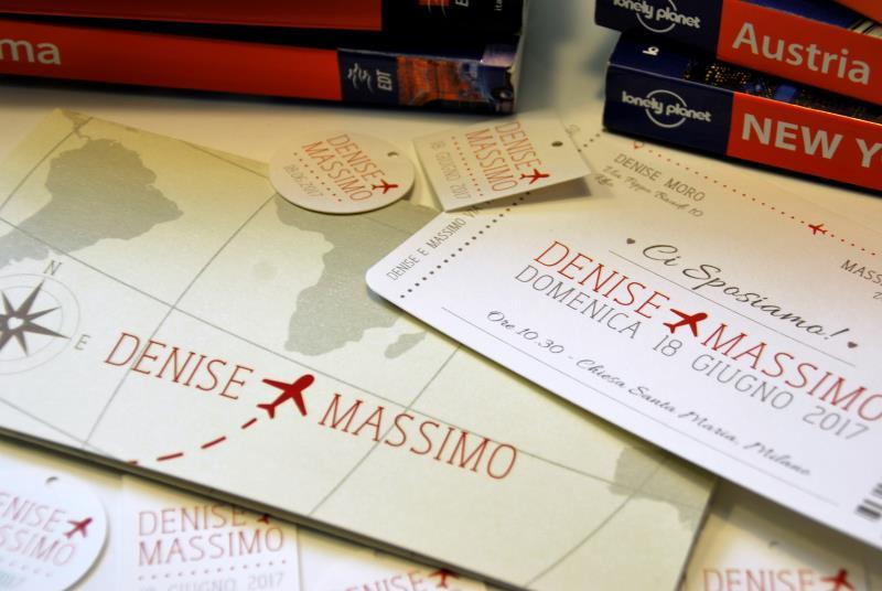 Super Partecipazione a tema viaggio, a forma di biglietto aereo  MA33