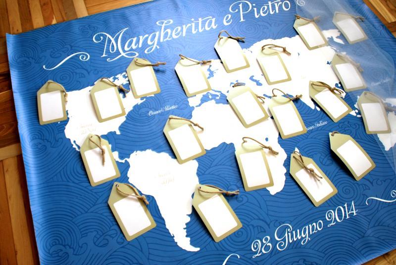 Tableau Matrimonio Azzurro : Tableau de mariage in canvas fornito in kit di montaggio
