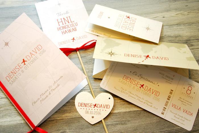 Matrimonio Tema Hawaii : Partecipazione a tema viaggio a forma di biglietto aereo