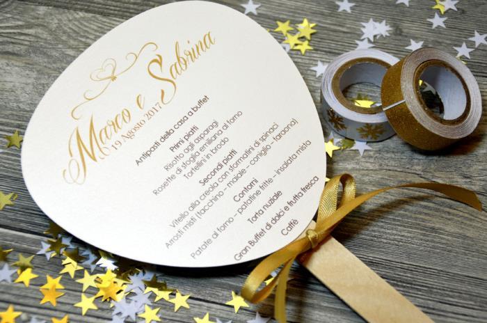 Menu Ventaglio su carta perlata, elegante, color oro