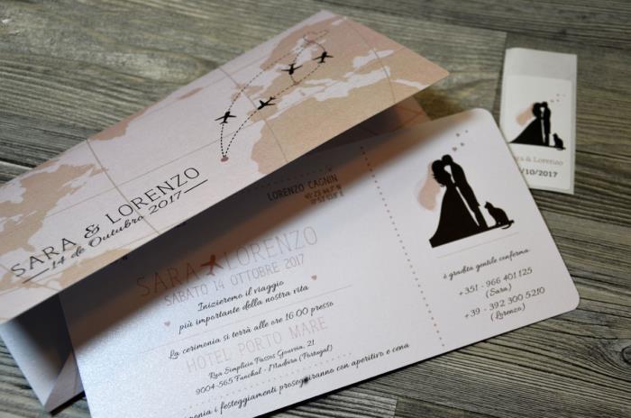 Partecipazioni Matrimonio Viaggio.Partecipazione A Tema Viaggio A Forma Di Biglietto Aereo In
