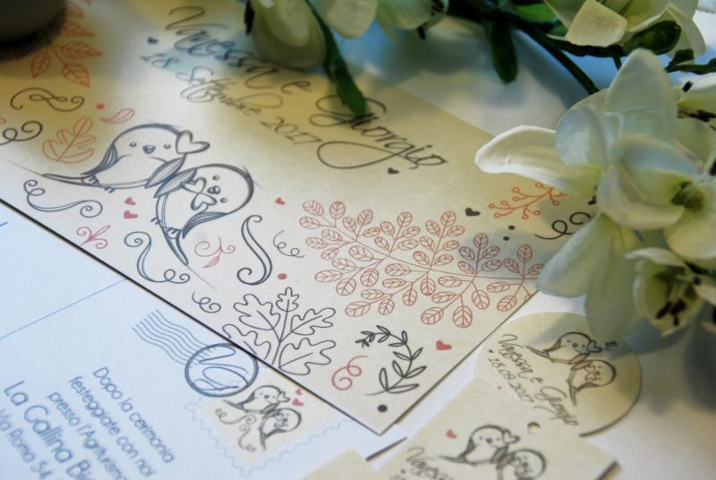 POSTCARD. Partecipazione Romantica, con uccellini e grafica a cartolina