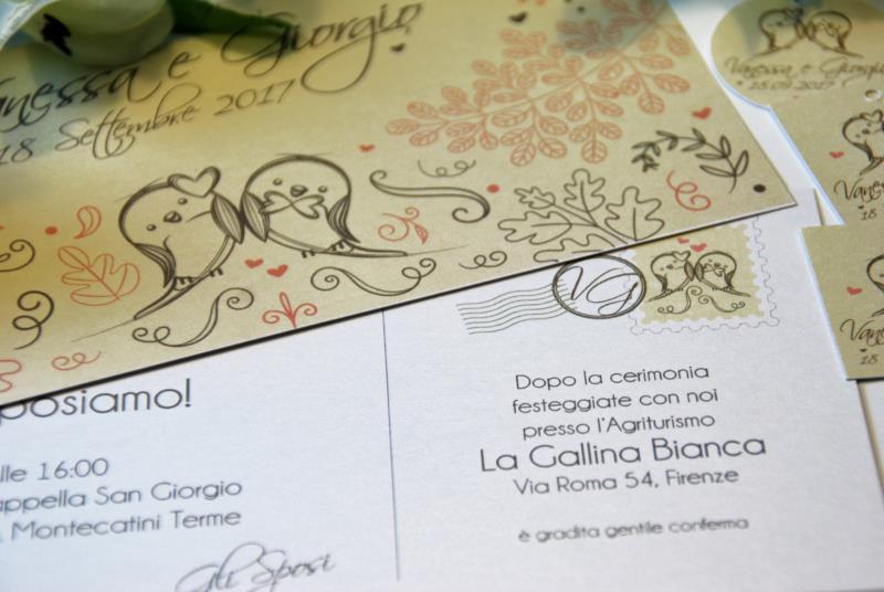 POSTCARD - Partecipazione Romantica, con uccellini e grafica a cartolina