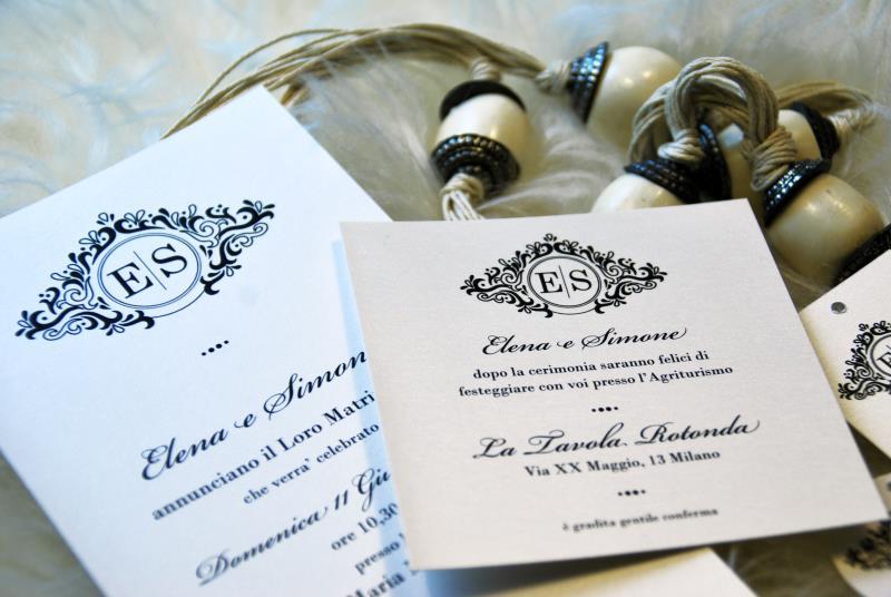 GLAMOUR. Invito Matrimonio elegante e classico, in bianco e nero