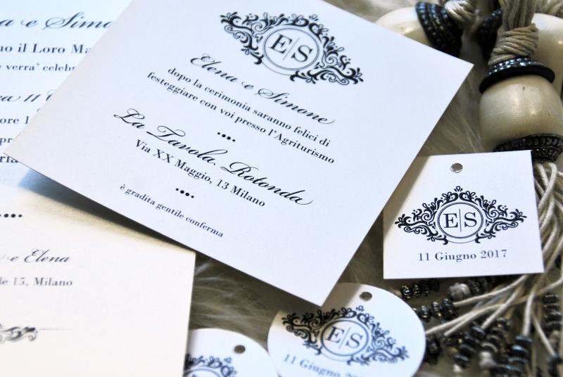 GLAMOUR - Invito Matrimonio elegante e classico, in bianco e nero