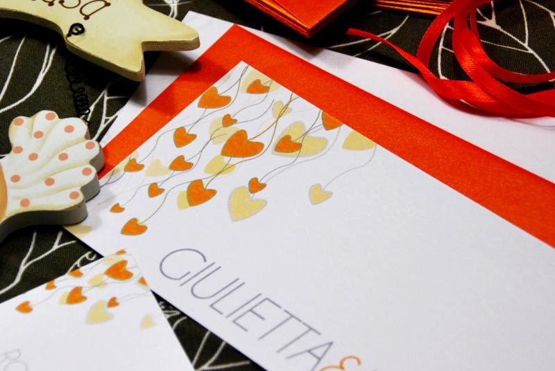 CUORI D ARANCIO. Partecipazione arancione, delicata, romanticissima