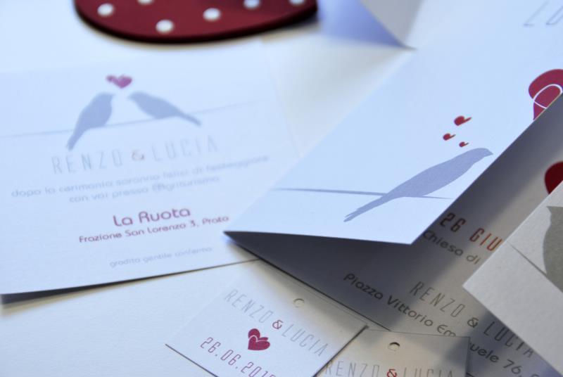 PICCIONCINI - Partecipazione romantica con chiusura particolare
