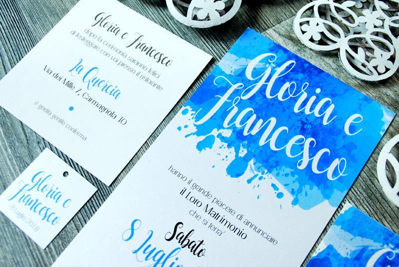 ACQUERELLO - Partecipazione Acquerello, con scritta effetto brush