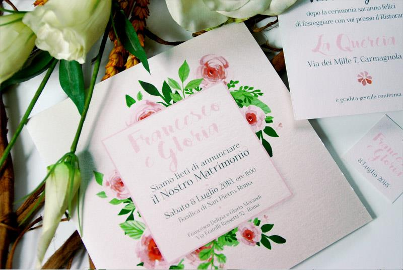 Matrimonio Tema Floreale : Partecipazione a tema floreale elegante e romantica