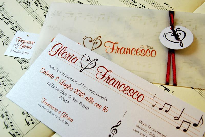 Matrimonio Tema Musica : Partecipazione di matrimonio a tema musicale
