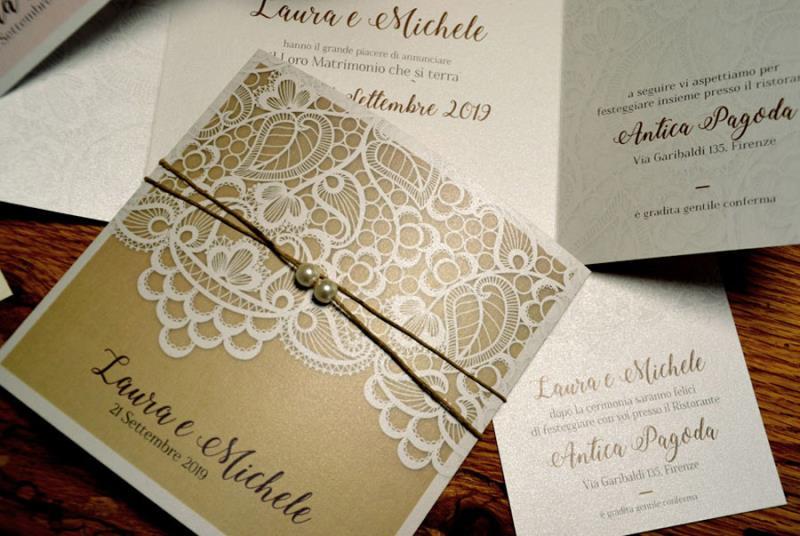 Matrimonio Tema Pizzo : Partecipazione a tema pizzo con spago e perle