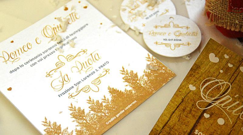Partecipazione di nozze invernale naturale ma elegante for Luogo di nozze con cabine