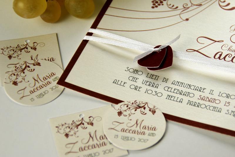 LANGHE - Partecipazione tema vino, adatto ad un matrimonio in cantina
