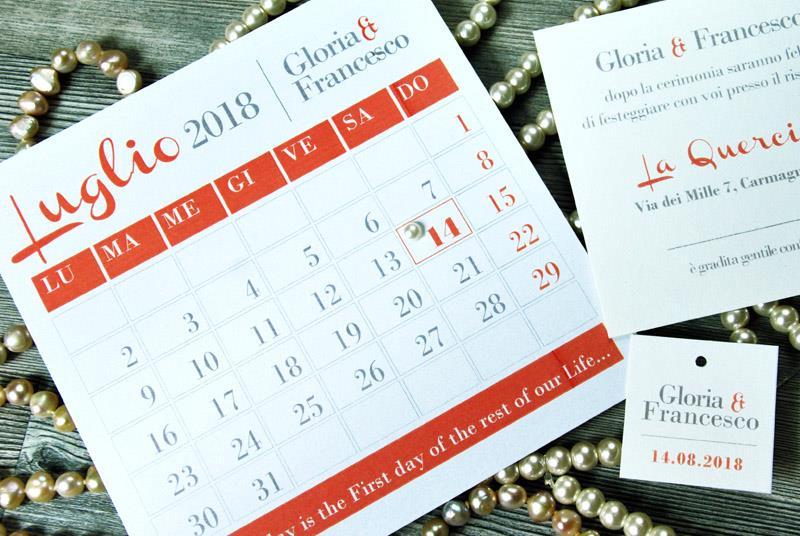 FIRST DAY. Partecipazione con calendario e perla applicata
