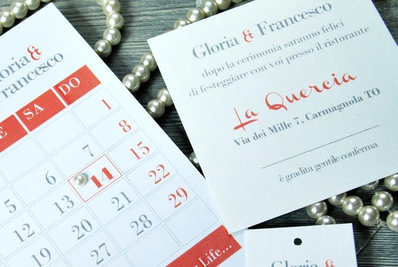 FIRST DAY - Partecipazione con calendario e perla applicata