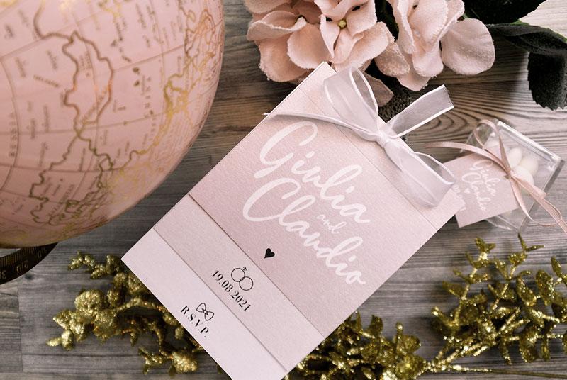 PER TE - Partecipazione romantica, in gradazioni di rosa cipria, con nastro in organza