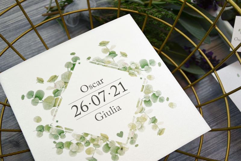 Partecipazioni Matrimonio Green.Partecipazione Moderna E Naturale Con Foglie Di Eucalipto Green