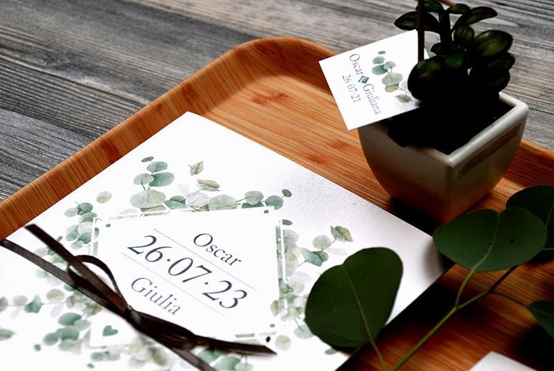 GREEN. Partecipazione moderna e naturale, con foglie di eucalipto