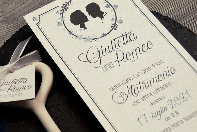 ROYAL WEDDING. Partecipazione Classica ed Elegante, con profili degli sposi
