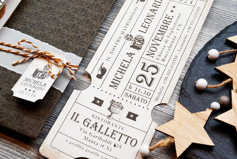 ROMEO AND JULIET - Partecipazione a forma di biglietto del cinema, vintage e retro