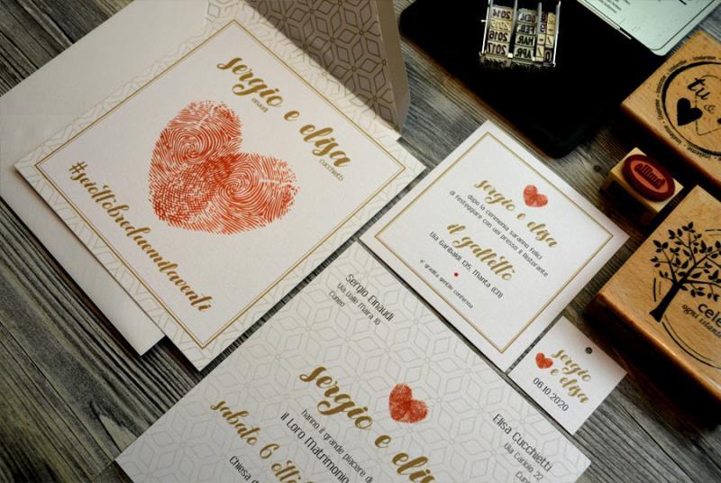 IMPRONTE - Partecipazione originale, con impronte digitali degli sposi