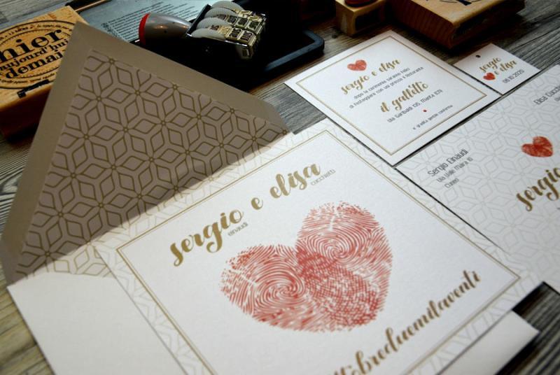 IMPRONTE. Partecipazione originale, con impronte digitali degli sposi