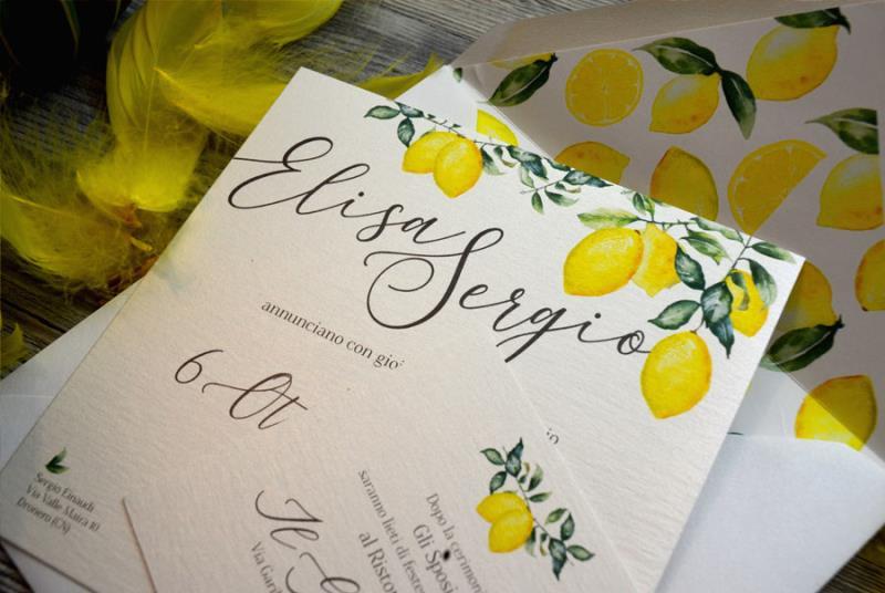 SICILIA. Partecipazione di matrimonio gialla, con limoni