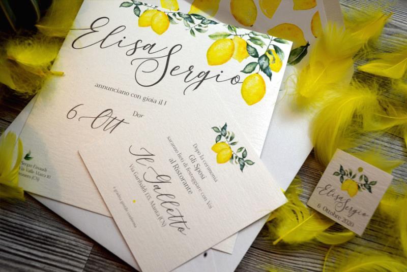 SICILIA - Partecipazione di matrimonio gialla, con limoni