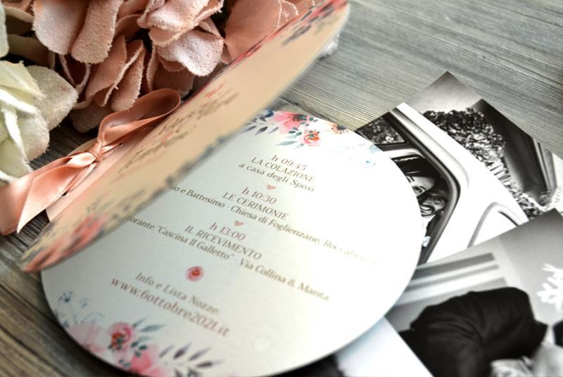 LA NOSTRA - Partecipazione a libretto, con fiori rosa