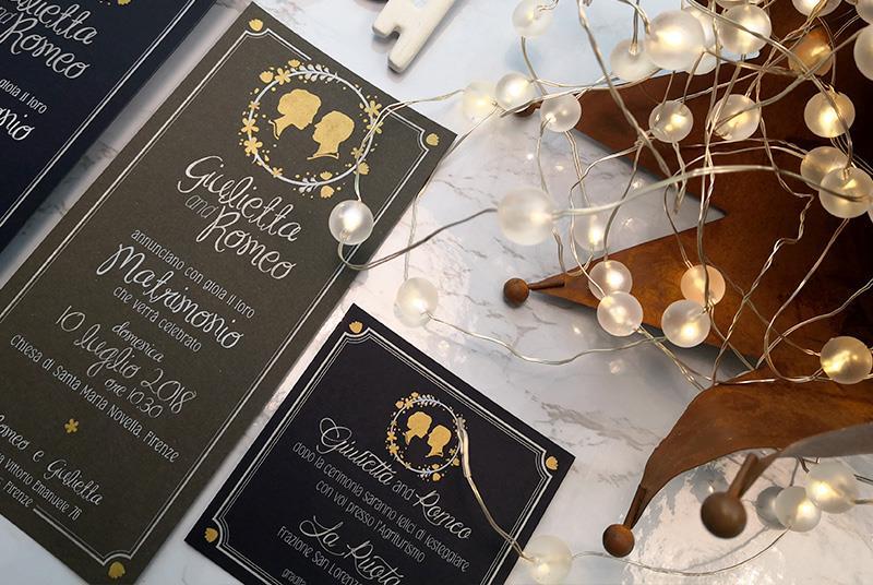 ROYAL WEDDING - Partecipazione Classica ed Elegante, con profili degli sposi
