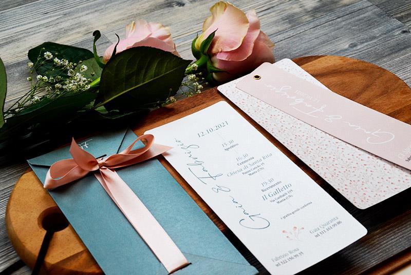 GYPSOPHILA - Partecipazione Elegante, con astuccio grigio e nastro rosa cipria