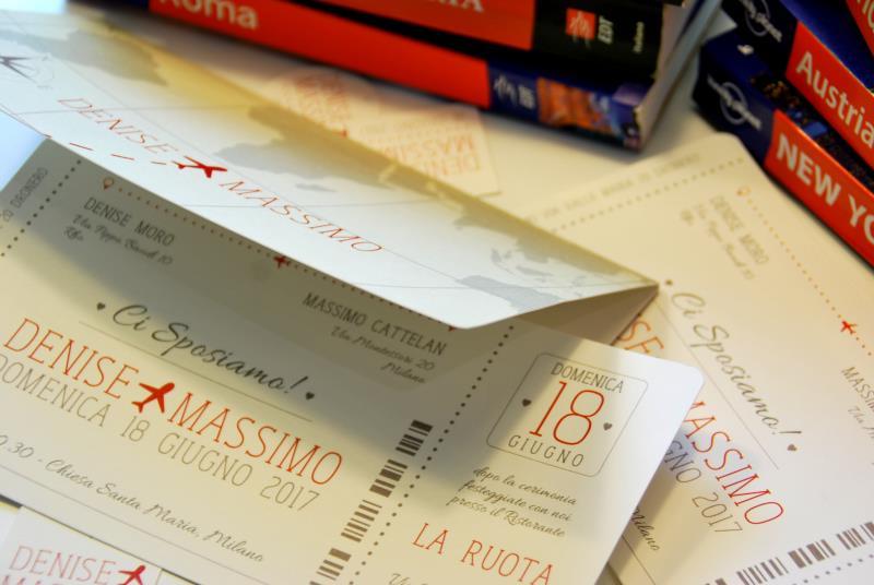 IN VIAGGIO - Partecipazione a tema viaggio, a forma di biglietto aereo