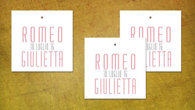 Biglietto Bomboniera Quadrato  PINK AND GREY