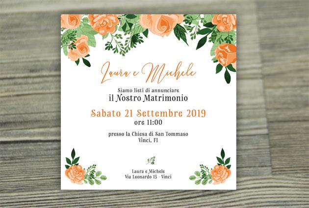 Partecipazione di Matrimonio Quadrata - Fiori Arancioni  FLOWER DELIGHT