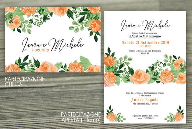 Partecipazione di Matrimonio Piegata - Fiori Arancioni  FLOWER DELIGHT