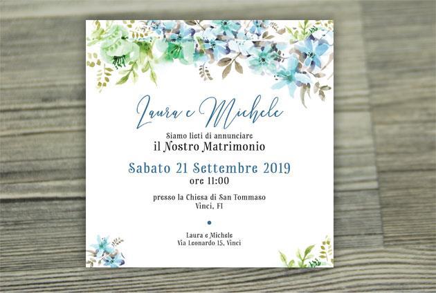Partecipazione di Matrimonio Quadrata - Fiori Azzurri  FLOWER DELIGHT