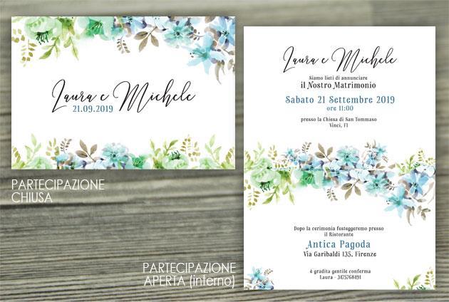Partecipazione di Matrimonio Piegata - Fiori Azzurri  FLOWER DELIGHT