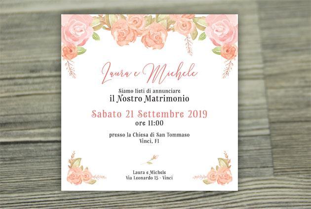 Partecipazione di Matrimonio Quadrata - Fiori Rosa  FLOWER DELIGHT