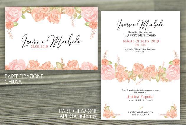 Partecipazioni Matrimonio Azzurro : Invito con cornice di fiori effetto acquerello partecipazioni