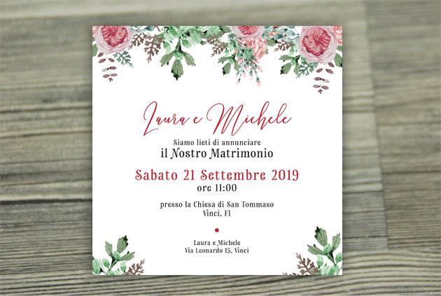 Partecipazione di Matrimonio Quadrata - Fiori Malva  FLOWER DELIGHT