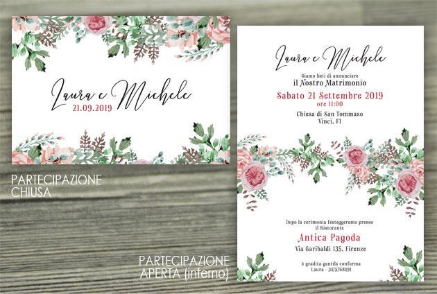 Partecipazione di Matrimonio Piegata - Fiori Malva  FLOWER DELIGHT