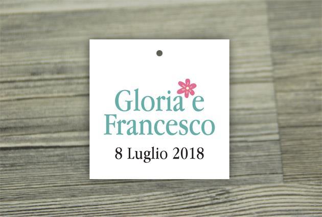 Biglietto Bomboniera Quadrato  GIARDINO SEGRETO