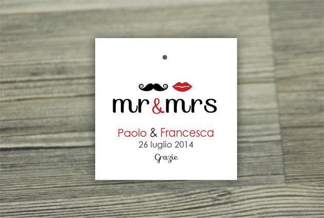 Biglietto Bomboniera Quadrato  MR&MRS