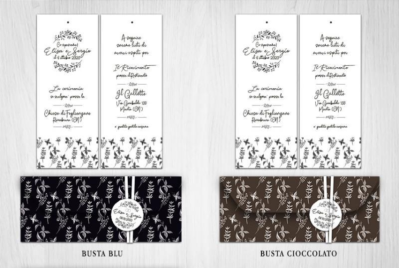 Partecipazione di Matrimonio a 2 Fogli con Busta Scura  BLACK & WHITE