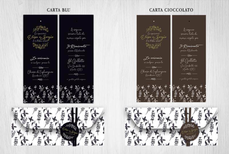 Partecipazione di Matrimonio a 2 Fogli con Cartoncini Scuri  BLACK & WHITE