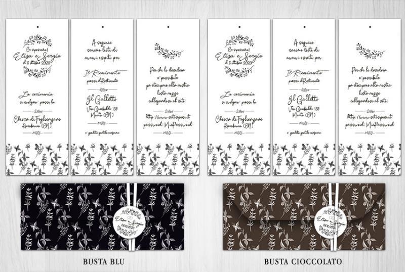 Partecipazione di Matrimonio a 3 Fogli con Busta Scura  BLACK & WHITE