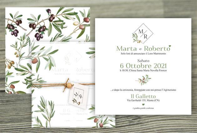 Partecipazione di Matrimonio + invito al ricevimento  PUGLIA
